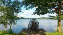 Widok na Jezioro Białe i ławkę Przyjaźni